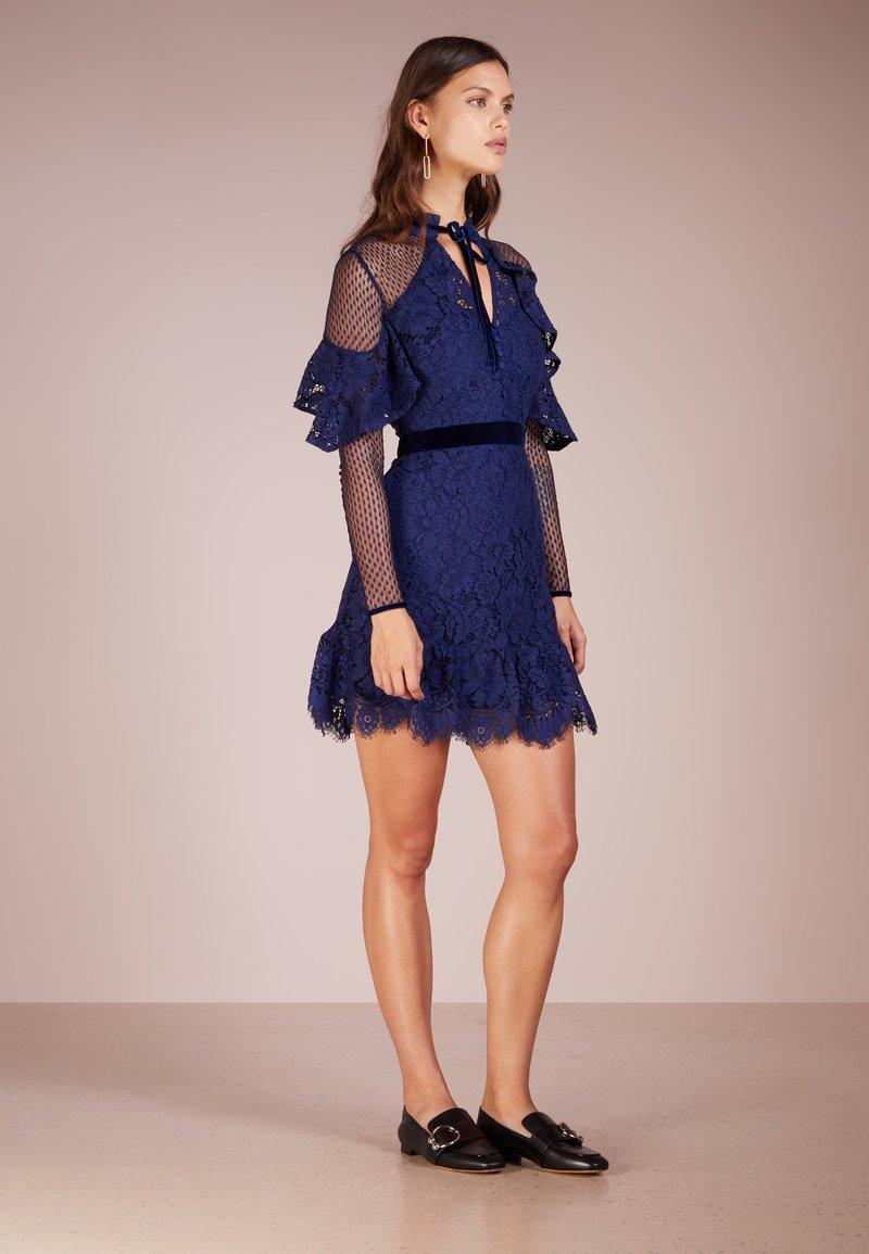 PERSEVERANCE LONDON - ANEMONE TOP RUFFLE MINI DRESS - Cocktailkleid/festliches Kleid - navy