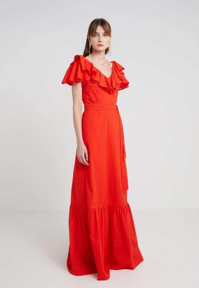 DITSY ANGLAISE RUFFLED BELTED GOWN - Maxikleid - red