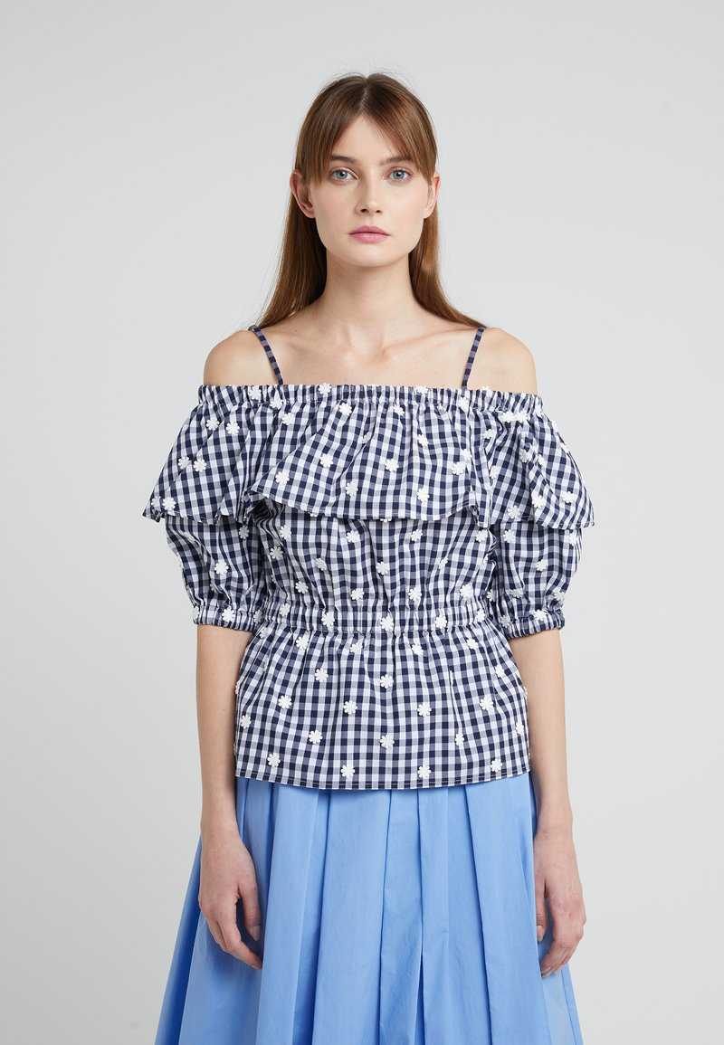 PERSEVERANCE LONDON - FLORAL-CHECK OFF THE SHOULDER TOP - Bluse - chk