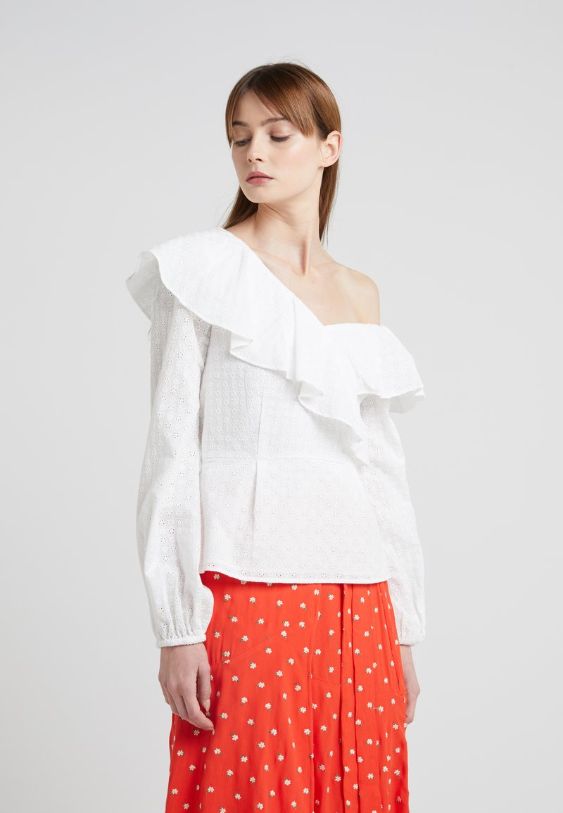 PERSEVERANCE LONDON - DITSY ANGLAISE ASYMMETRIC BLOUSE - Blouse - offwhite