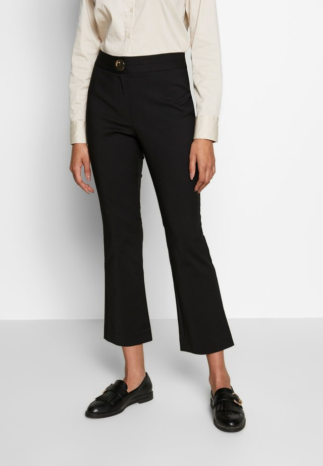 FLARE TROUSER WITH BUTTON - Trousers - black