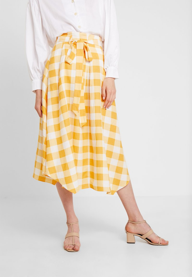 Pedro del Hierro - GINGHAM SKIRT - A-Linien-Rock - yellow