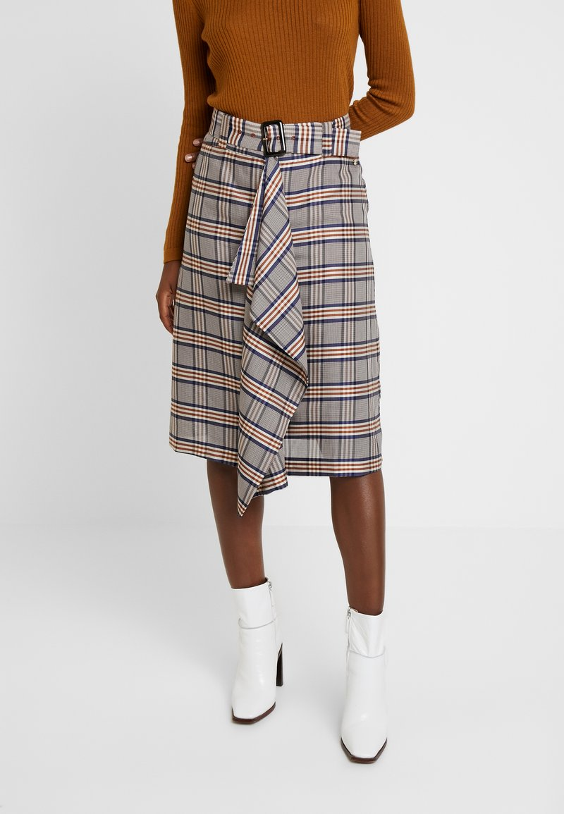 Pedro del Hierro - CHECKED SKIRT - Wrap skirt - blues