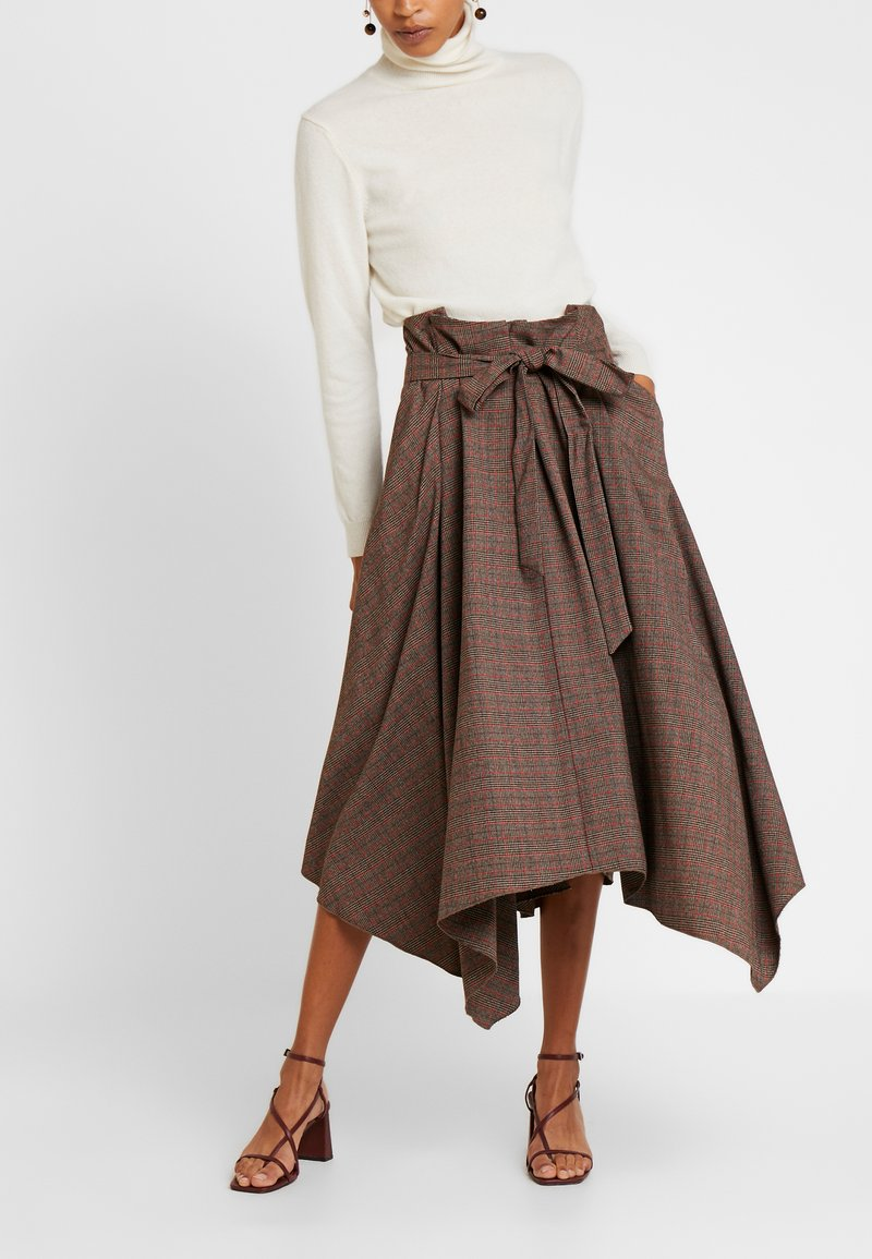Pedro del Hierro - CHECKED SKIRT - Maxi skirt - browns