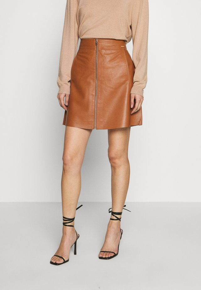 ZIPPER SKIRT - A-line skirt - light khaki