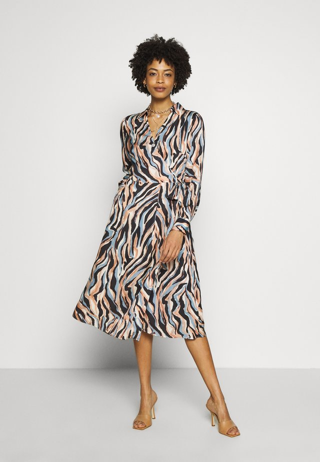 PRINTED DRESS WITH BELT - Korte jurk - blue