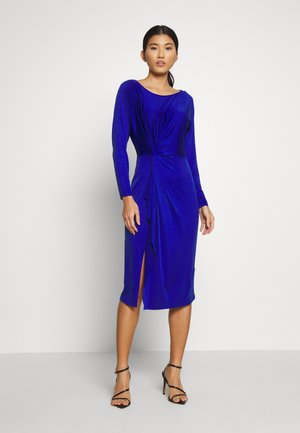 DRESS WITH GATHERING - Vestito elegante - dark blue
