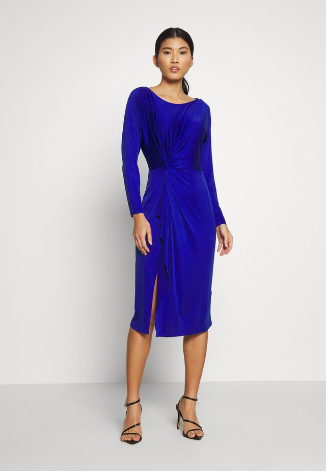 DRESS WITH GATHERING - Cocktailklänning - dark blue