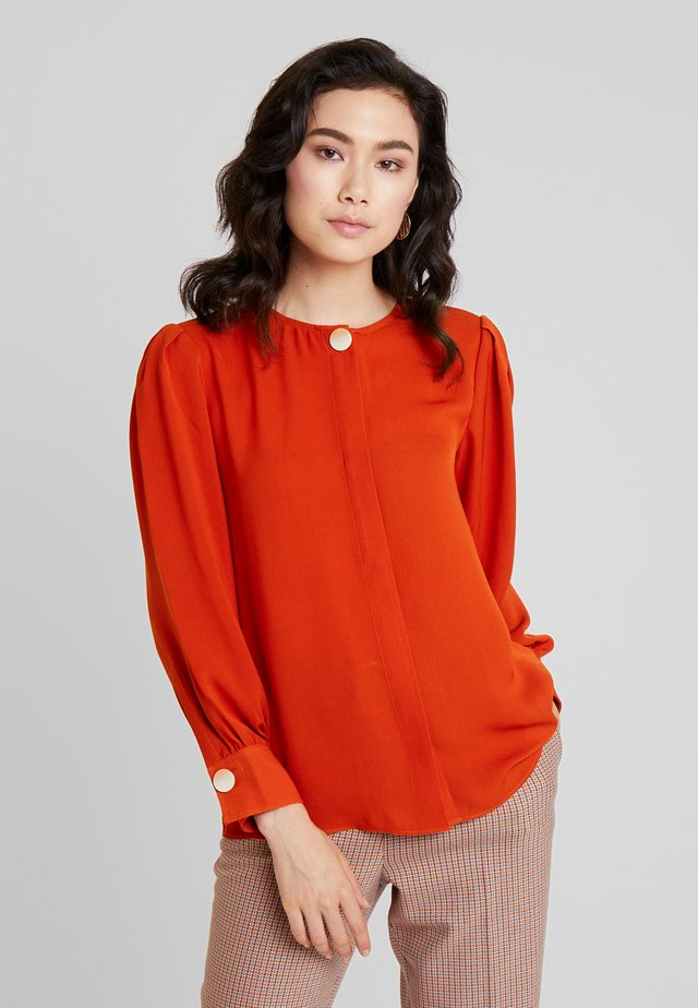 LONG SLEEVE BLOUSE WITH BUTTON - Blus - reds