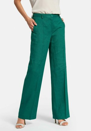 HOSE PASSFORM CORNELIA AUS 100% LEINEN - Pantaloni - bottle green