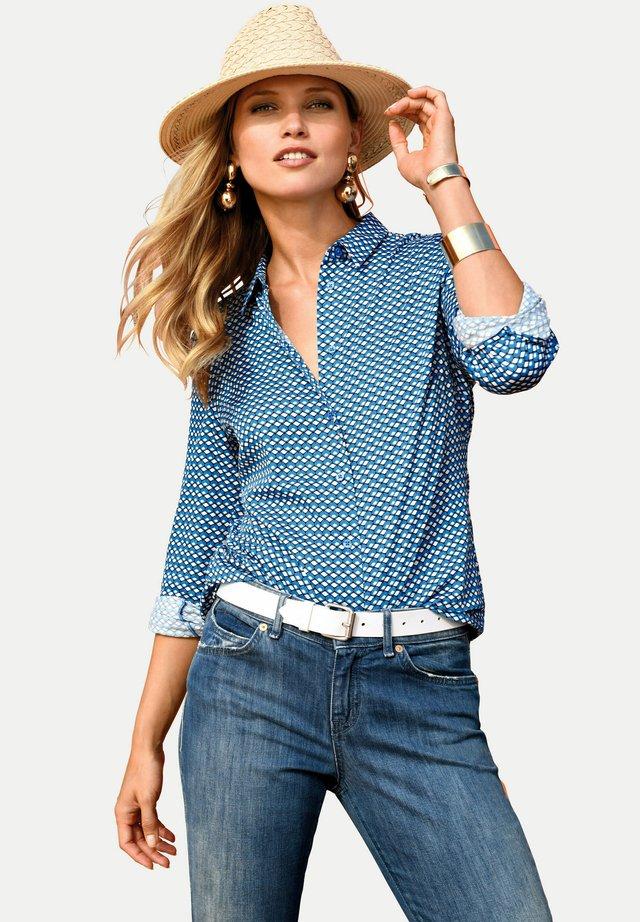 Button-down blouse - blau/ weiß