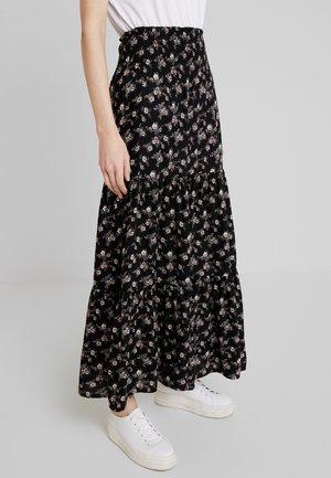 SKIRT FLOWER PRINT - Falda larga - black combi
