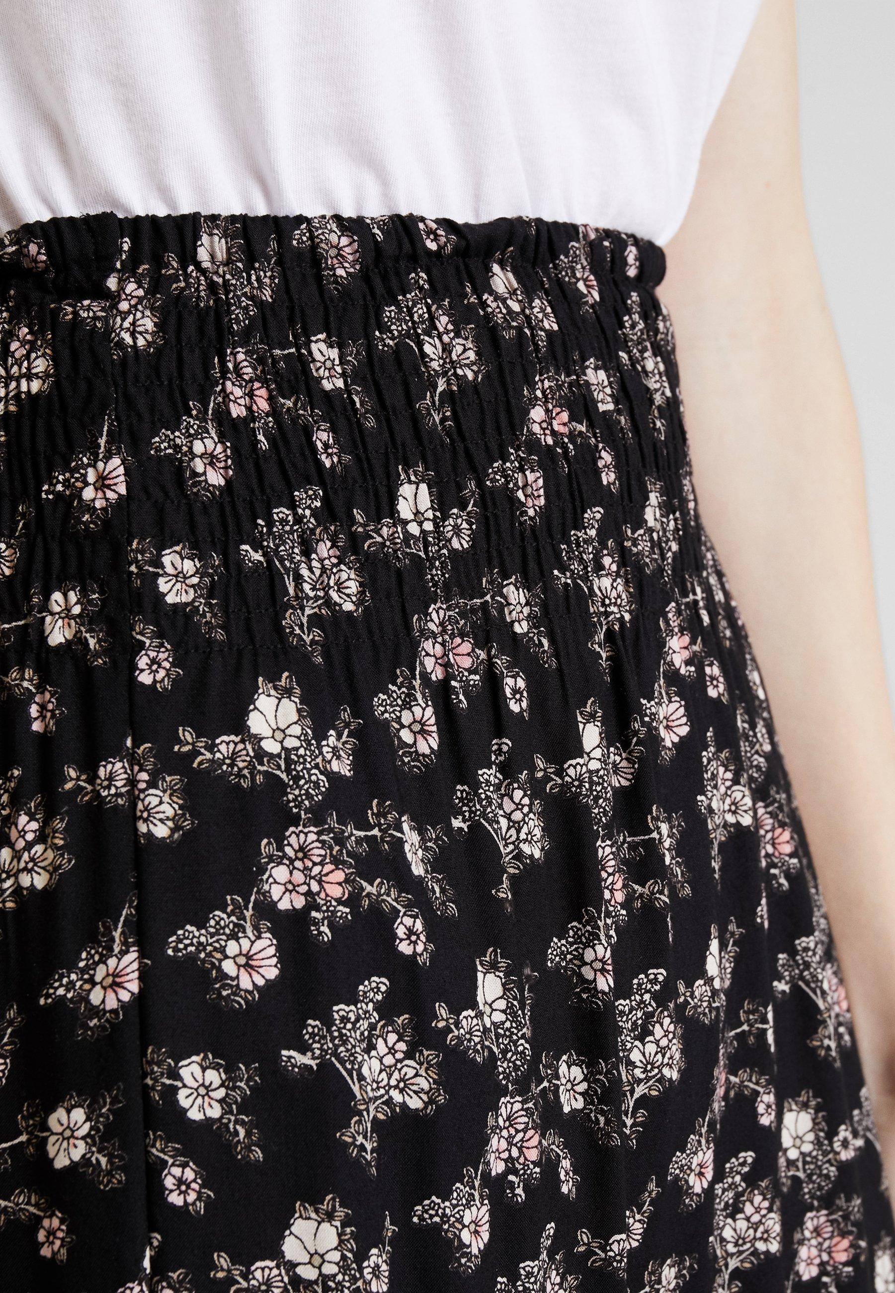 SKIRT FLOWER PRINT Jupe longue black combi