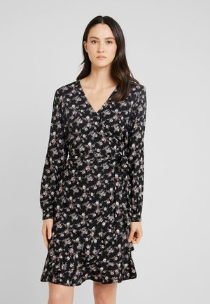 WRAPAROUND DRESS FLOWER PRINT - Kjole - black/combi