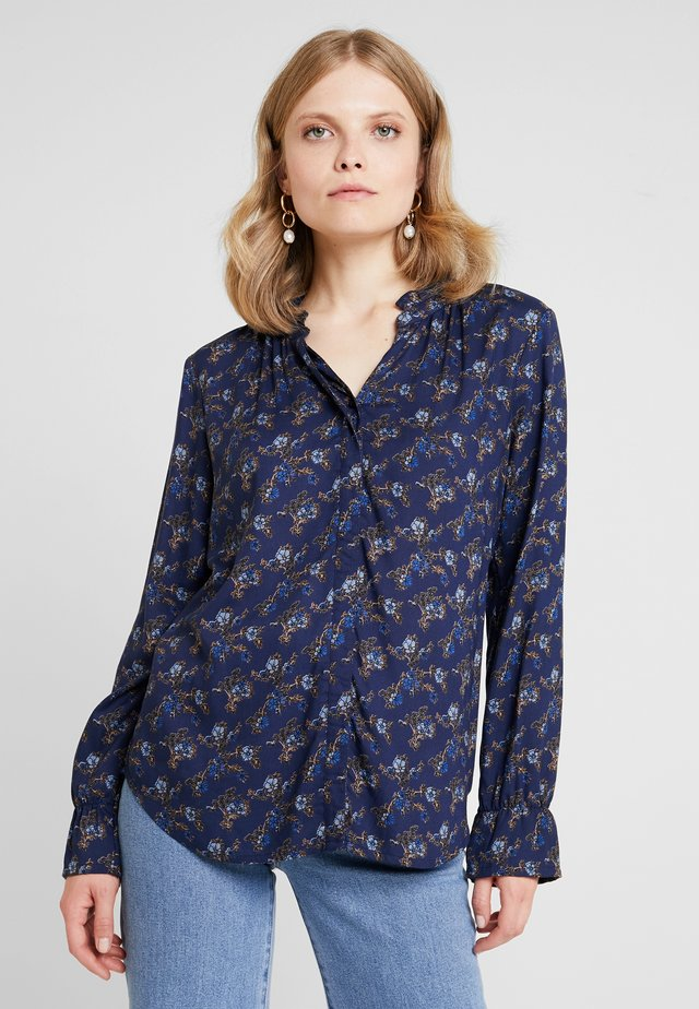 FLOWER PRINT - Button-down blouse - dark blue