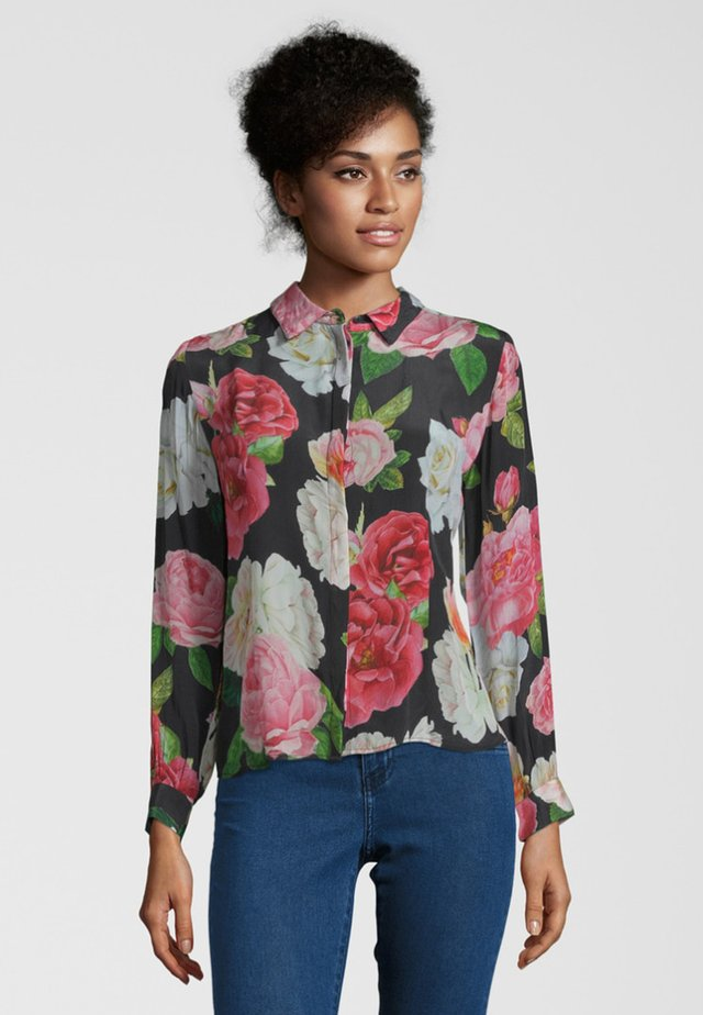 MIT BLUMENPRINT - Button-down blouse - black