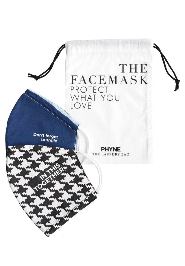 2 PACK - Community mask - maske 1: navy/hellblaumaske 2: schwarz-weiß/schwarzwäschebeutel: offwhite