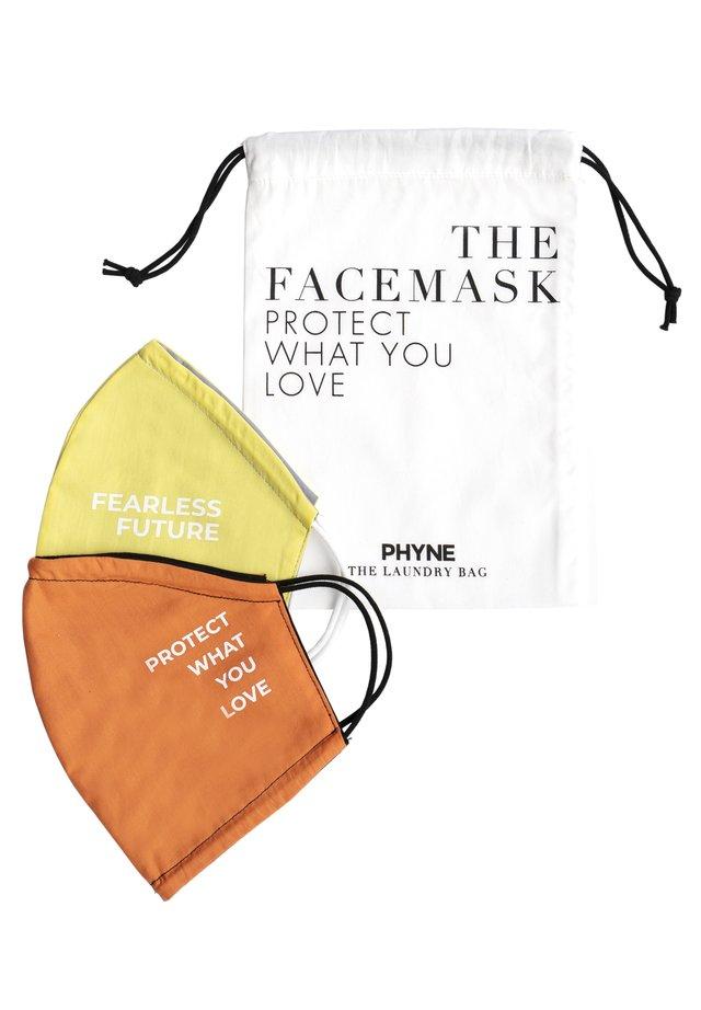 2 PACK - Community mask - maske 1: gelb/graumaske 2: orange/schwarzwäschebeutel: offwhite
