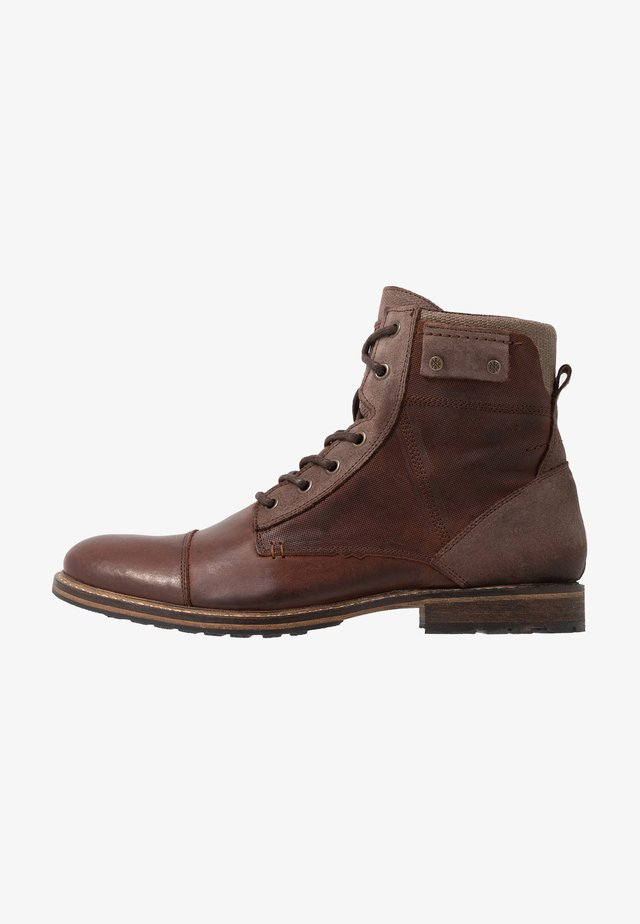 Lace-up ankle boots - cognac