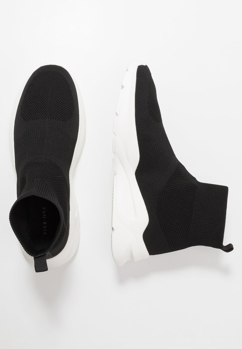 Pier One - Sneakersy wysokie - black/white