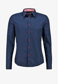Pier One - CONTRAST BUTTON SLIMFIT - Shirt - dark blue/red - 6