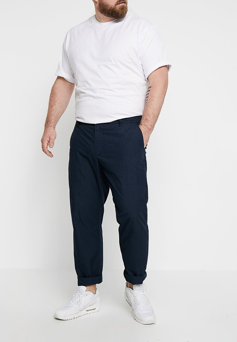 Pier One - POPLIN TROUSE - Chinos - dark blue