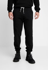 Pier One - 2 PACK - Tracksuit bottoms - black/mottled light gre - 2