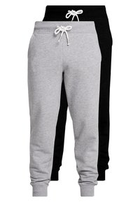 Pier One - 2 PACK - Tracksuit bottoms - black/mottled light gre - 0