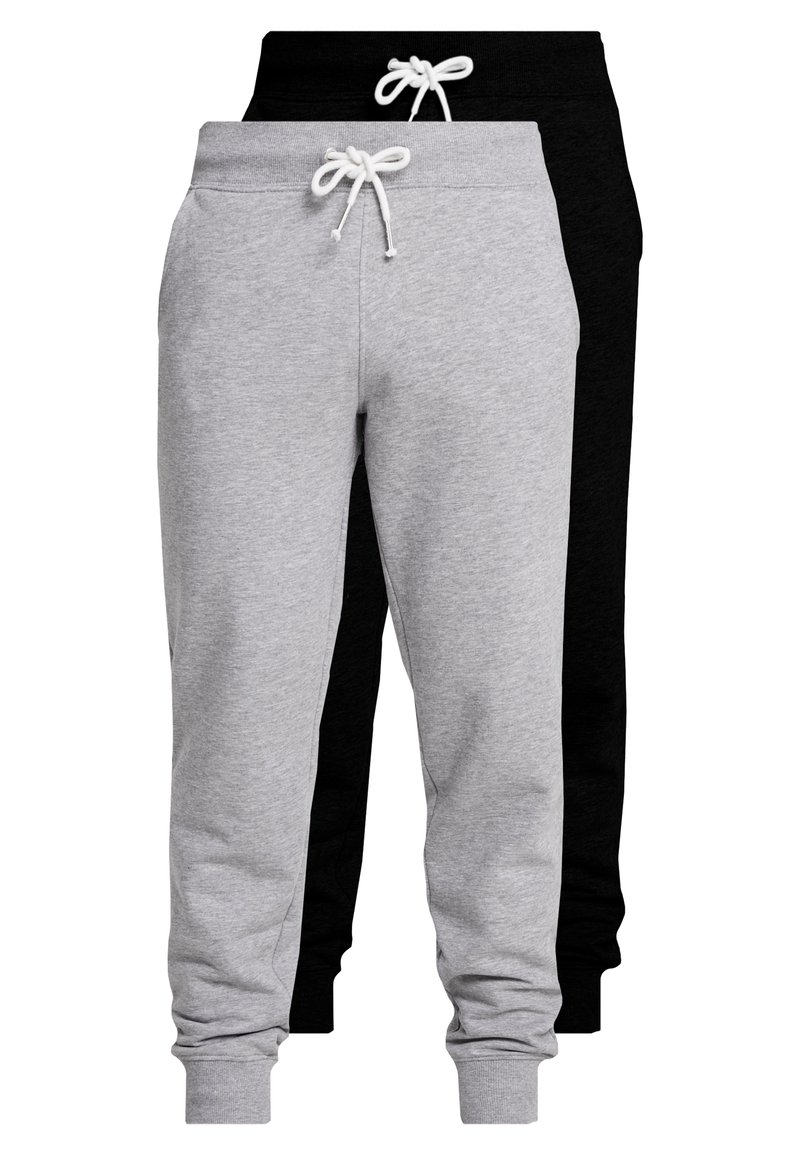 Pier One - 2 PACK - Tracksuit bottoms - black/mottled light gre