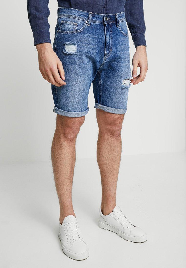 Pier One - Denim shorts - dark blue denim