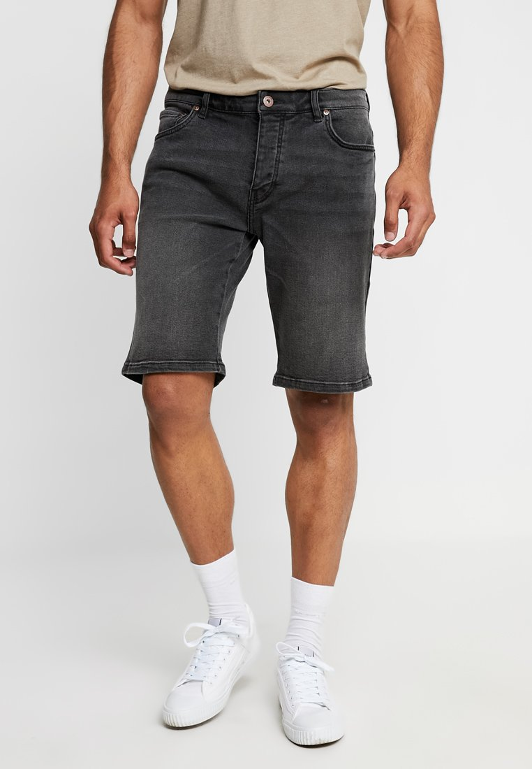 Pier One - Jeans Shorts - black denim