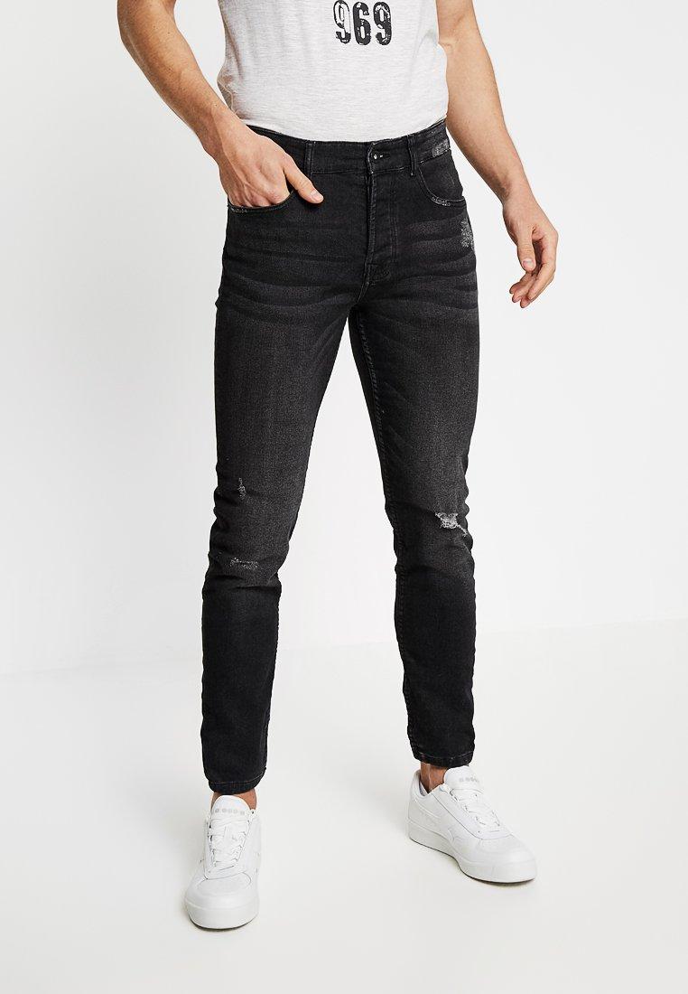 Pier One - Vaqueros slim fit - black