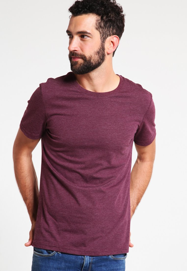 Pier One - Basic T-shirt - bordeaux melange