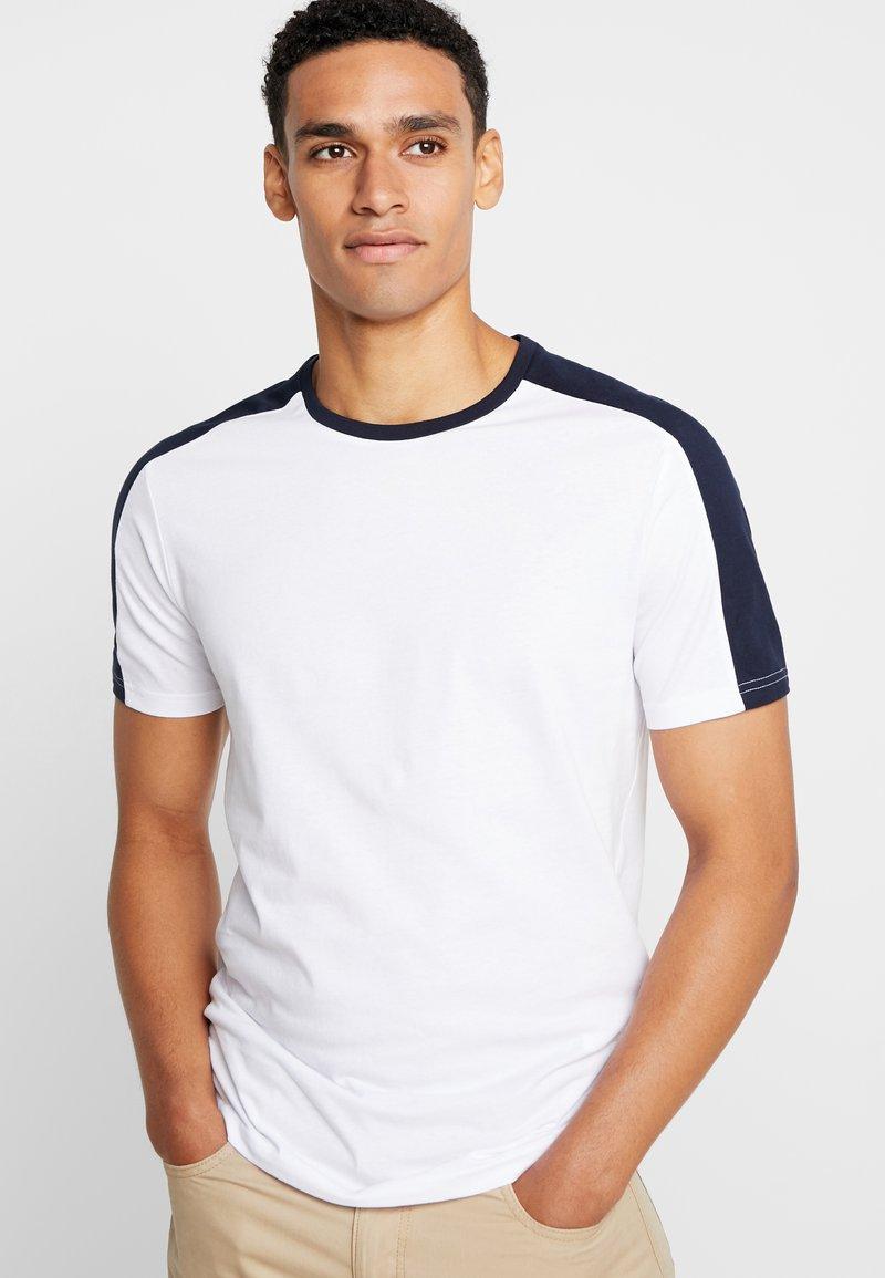 Pier One - Basic T-shirt -  white/ dark blue