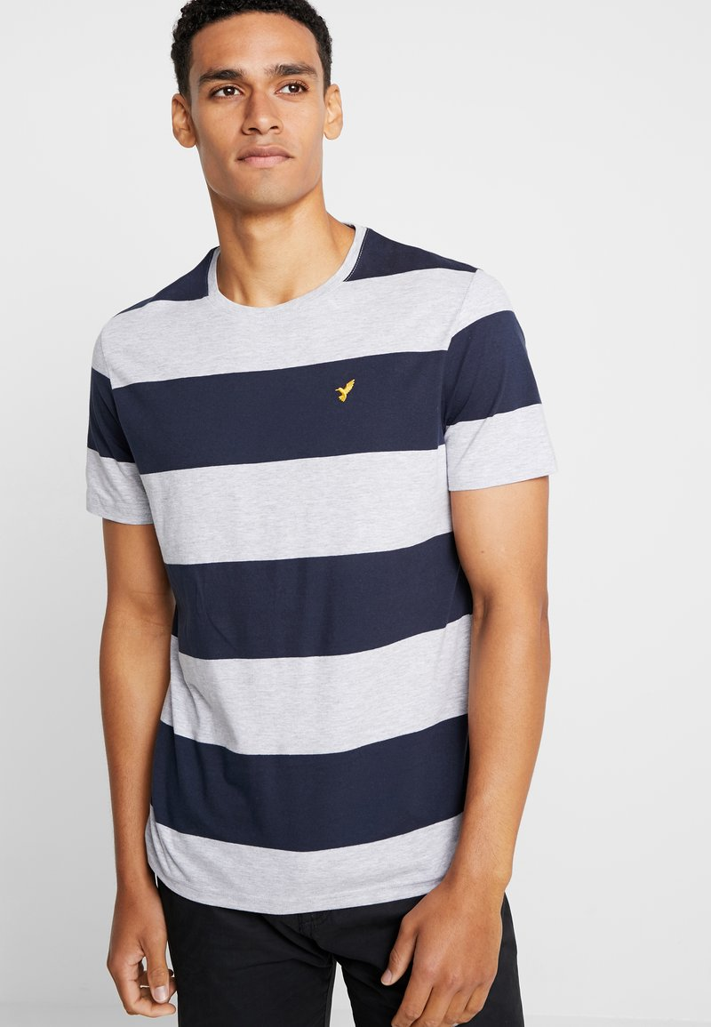 Pier One - Print T-shirt - mottled grey/dark blue