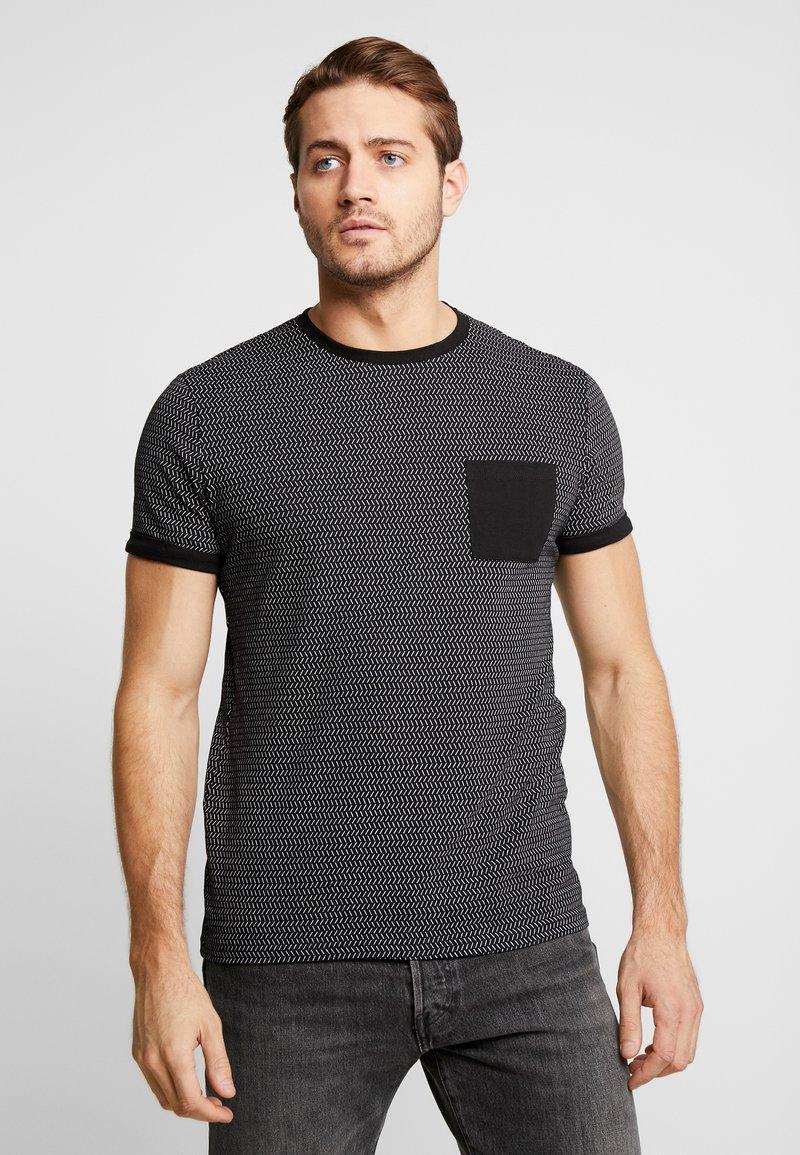 Pier One - Camiseta estampada - black/white