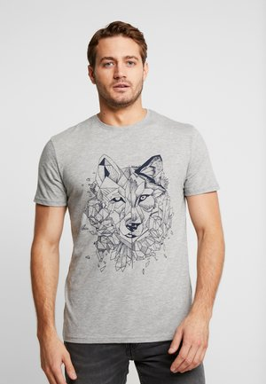 Print T-shirt - mottled grey