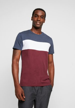 T-Shirt basic - mottled bordeaux/white