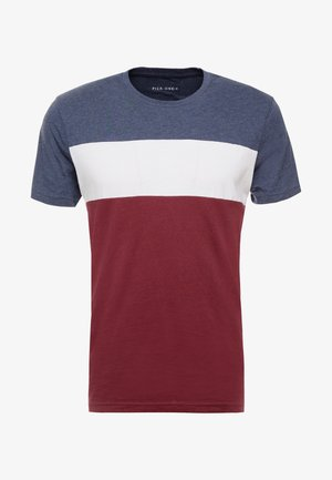Basic T-shirt - mottled bordeaux/white