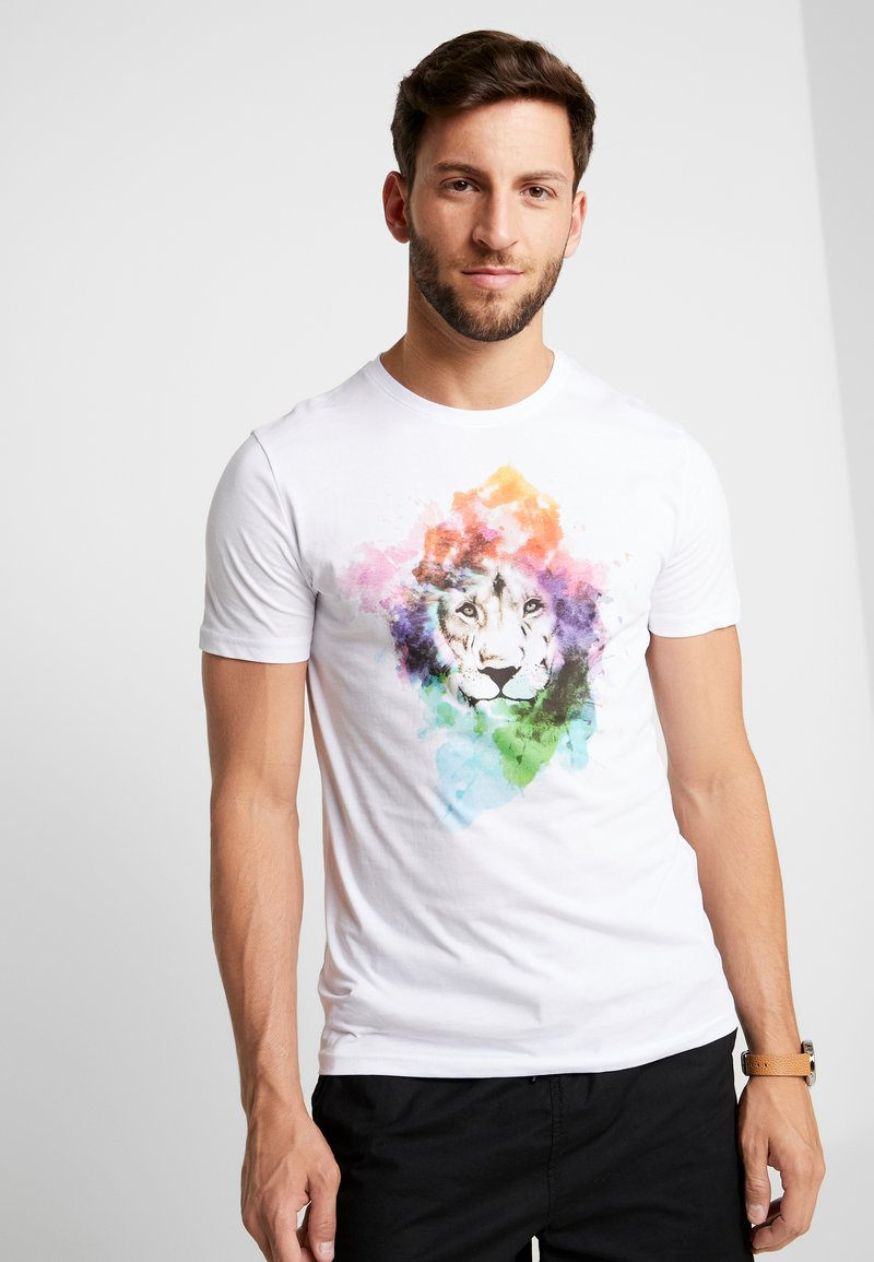 Pier One - TEE LION WATERCOLO - T-Shirt print - white