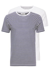 Pier One - T-shirt imprimé - navy/white - 0