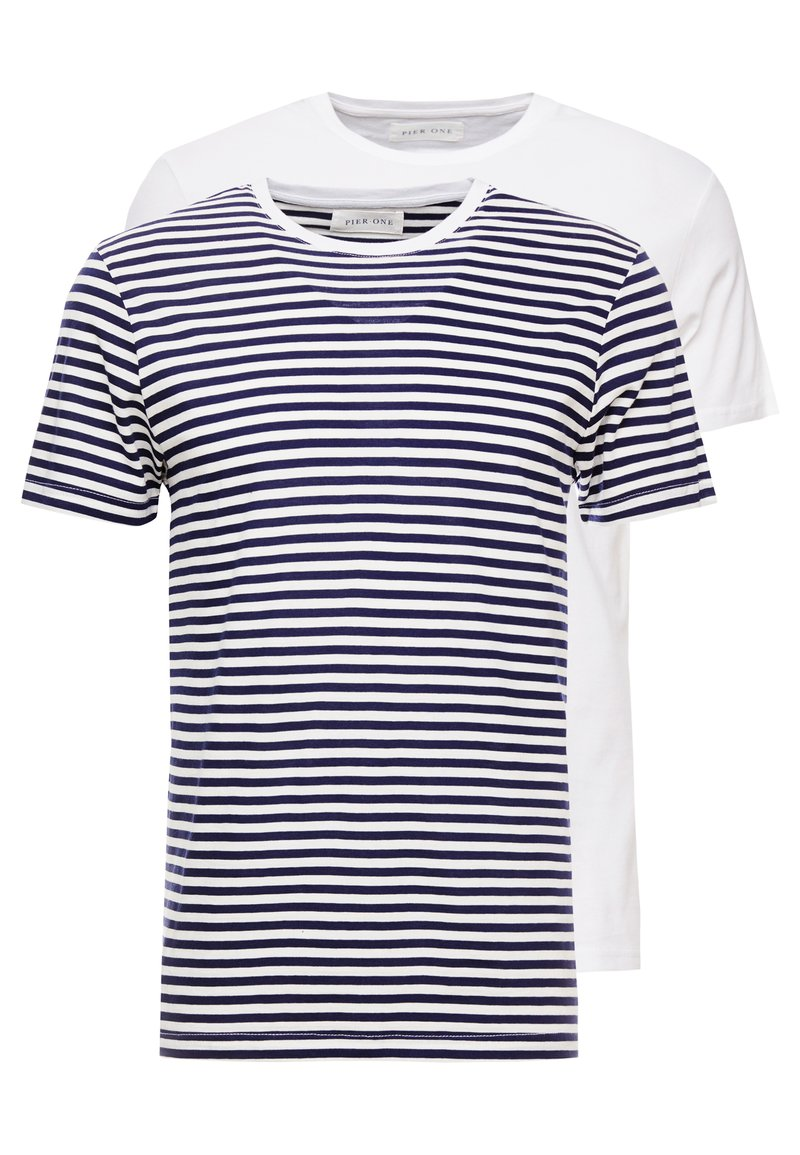 Pier One - T-shirt imprimé - navy/white