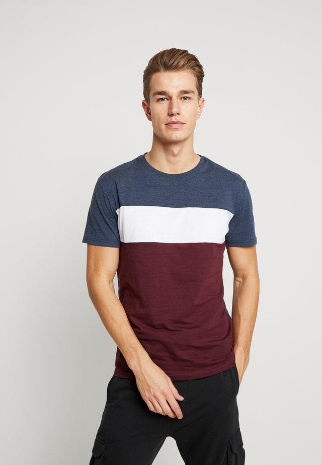 T-Shirt print - bordeaux / dark blue
