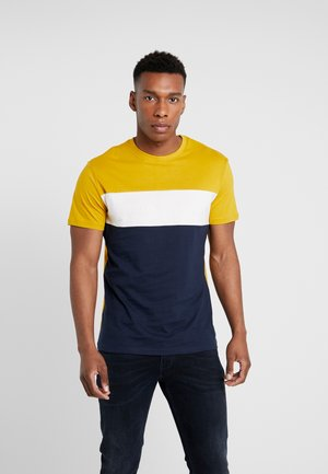 Print T-shirt - dark blue/mustard