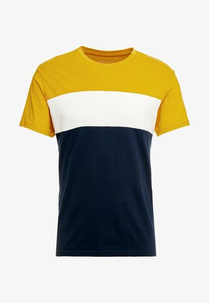 T-shirt print - dark blue/mustard