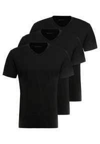 Pier One - 3 PACK  - T-shirt basic - black - 0