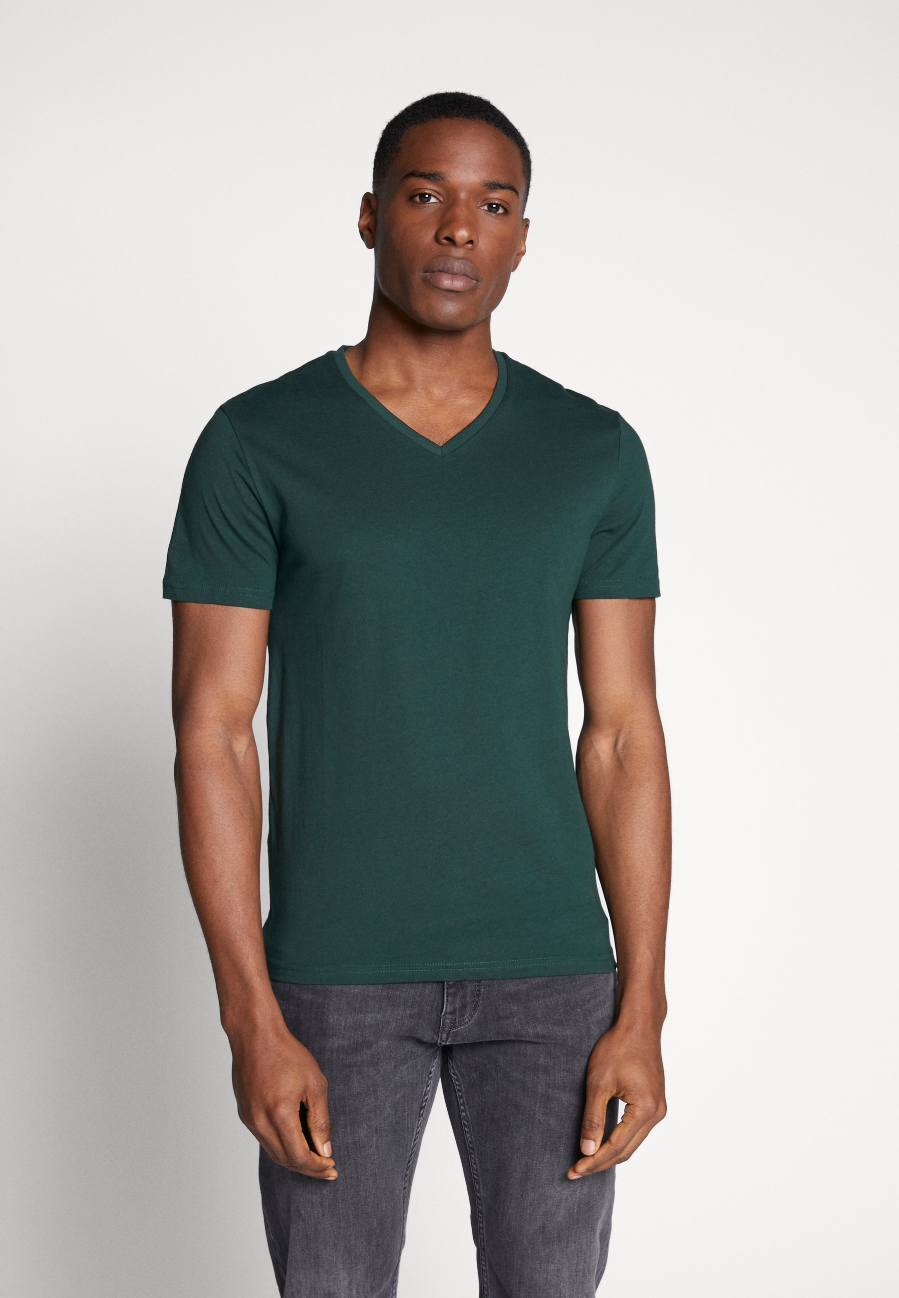 Pier One 3 Pack - T-shirt Basique Black Grey Green