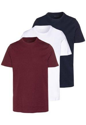 3 PACK - T-Shirt basic - white/dark blue/red