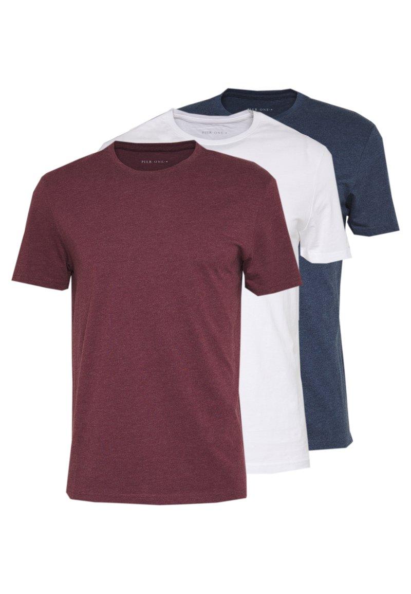 Pier One - 3 PACK - T-shirts basic - mottled bordeaux/white/blue
