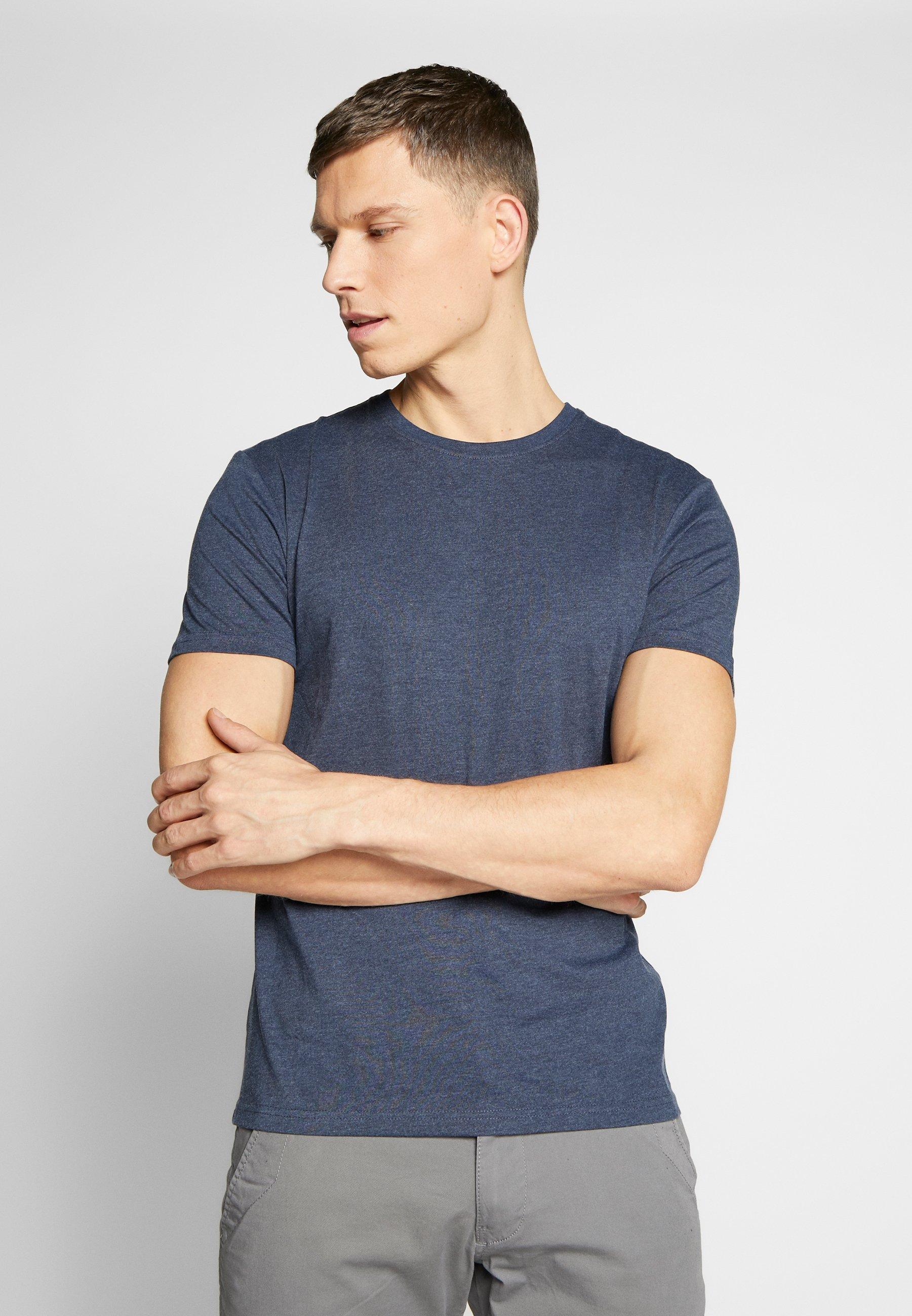 Pier One 3 Pack - T-shirt Basique Mottled Bordeaux/white/blue